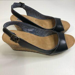 Dr. Scholl's Peep Toe Cork Wedge Sandal
